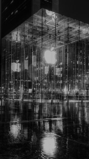 Raining Apple Store Newyork At Night Dark iPhone 8 wallpaper