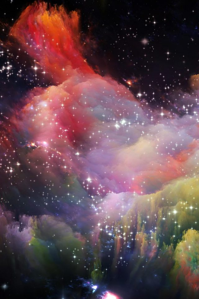 Space Rainbow Colorful Star Art Illustration Red iPhone wallpaper