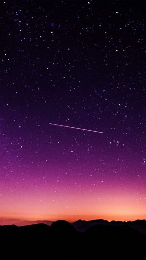 Star Galaxy Night Sky Mountain Purple Red Nature Space iPhone 8 wallpaper